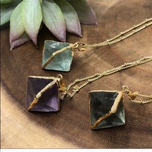 Fluorite & Gold Pendant Necklace